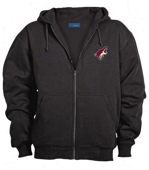 Phoenix Coyotes Jackey: Black Reebok Hooded Craftsman Jacket