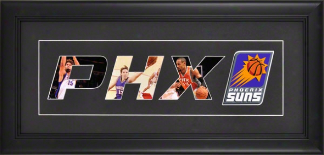 Phoenix Suns Framed 10x20 Black Matte Logo At Collage