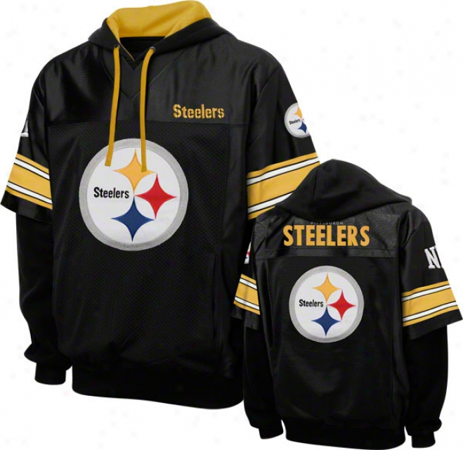 Pottsburg Steelers Black Grid Iron 2 Pulliver Jerzey Hoodie
