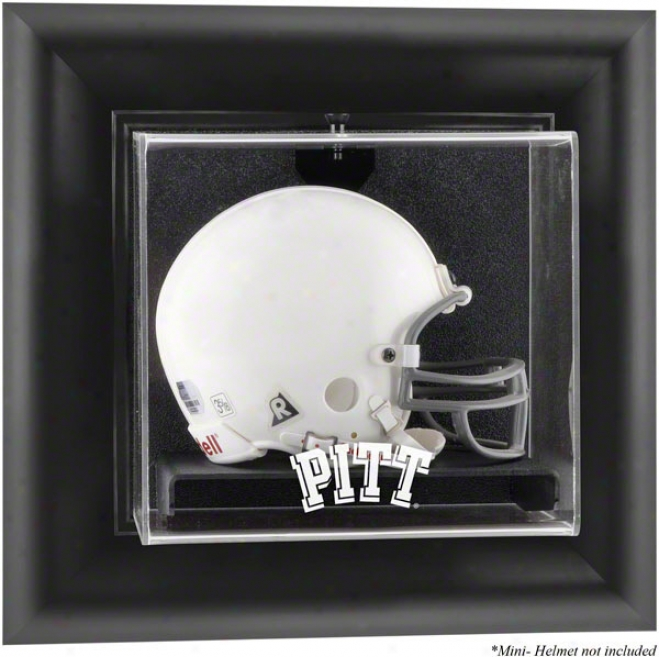 Pittsburgh Panthers Framed Wall Mounted Logo Mini Helmet Display Cade