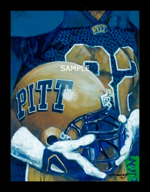 Pittsburgh Panthers - &quotu Of P Helmet Series&quot - Large - Framed Giclee