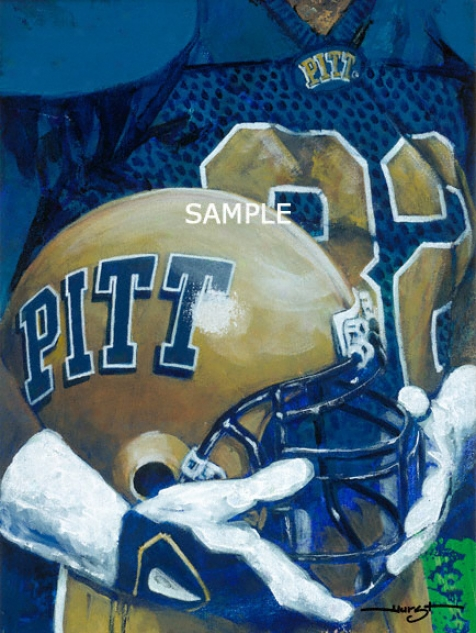 Pittsburgh Panthers - &quotu Of P Helmet Series&quot - Oversized - Unframed Giclee