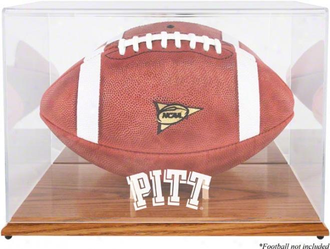 Pittsburgh Panthers Team Logo Football Display Case  Details: Oak Base