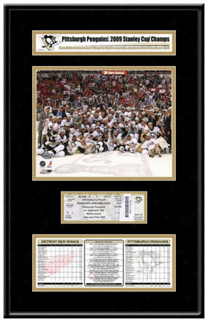 Pittsburgh Penguins 2009 Stanley Cup Champions Ticket Frame Jr.