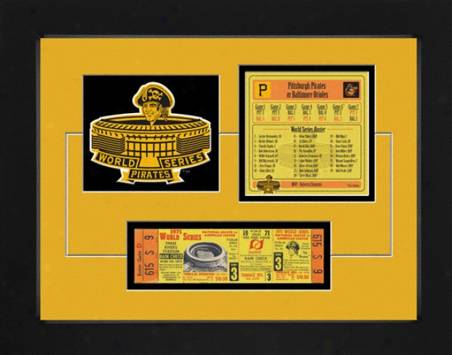 Pittsburgh Pirates 1971 World Series Replica Ticket & Patch Frame