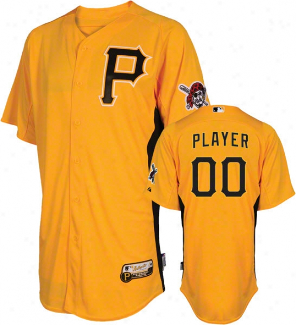 Pittsburgh Pirates Jersey: Any Player Authentic Gold On-field Batting Practice Jersey With Pirate Head Patch