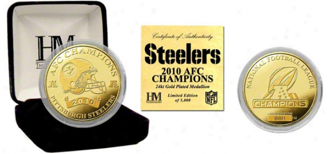 Pittsburgh Steelers 2010 Afc Champions 24kt Gold Coin
