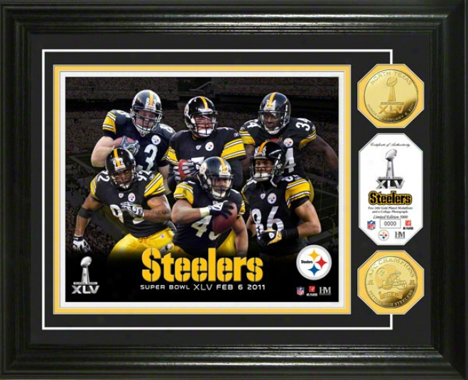 Pittsburgh Steelers 2010 Afc Champions And Super Bowl Xlv 24kt Gold Coin Team Photo Mint