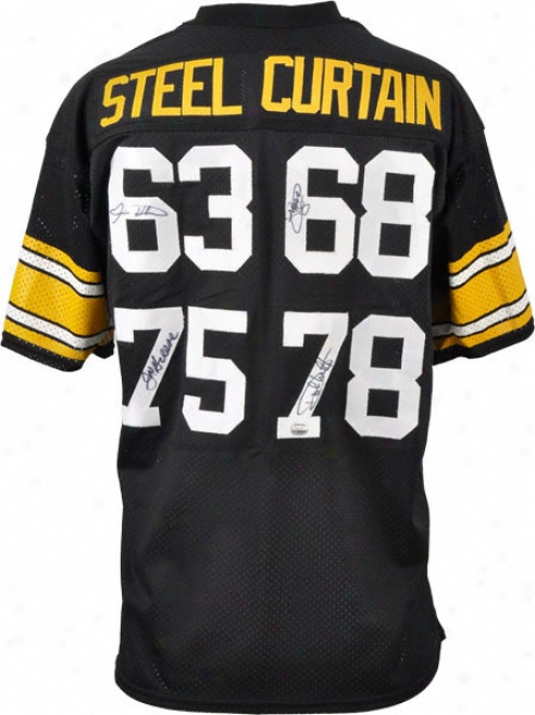 Pittsburgh Steelers Autographed Jersey  Details: Steel Curtain Defense, 4 Signatures