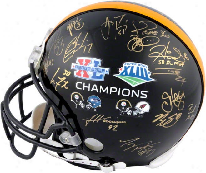 Pittsburgh Steelers Autographed Pro-line Helmet  Details: , 28 Signatures, Xl And Xliii, Authentic Riddell Helmet