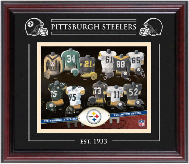 Pittsburgh Steelers - Evolution - Framed 8x10 Collage Wiyh Laser Etching