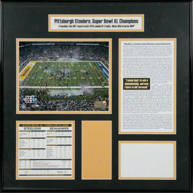 Pittsburgh Steelers - Ford Field Celebration - SuperB owl Xl Ticket Frame