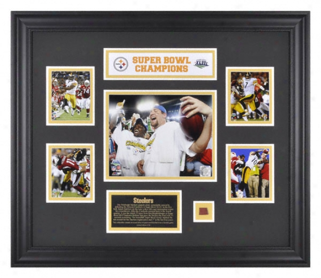 Pittsburgh Steelerd Framed 5-photograph Collage  Details: Super Bowl Xliii Champions, With Game Used Football Piece