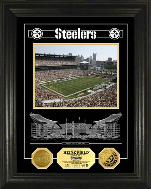 Pittsburgh Steelers Heinz Field Etched Glass 24kt Gold Coin Photo Mint