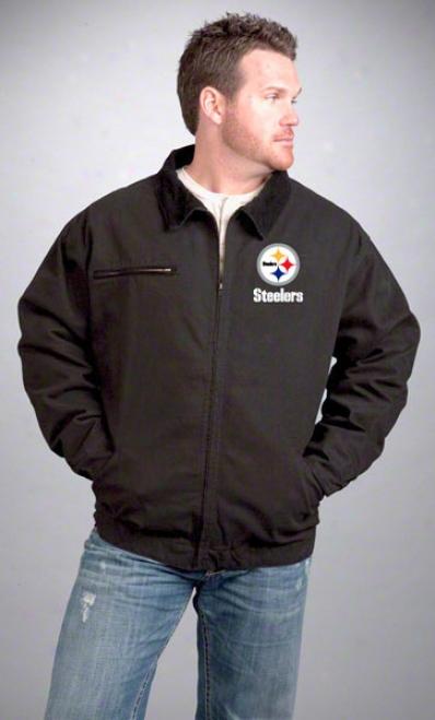 Pittsburgh Steeelers Jacket: Black Reebok Tradesman Jacket