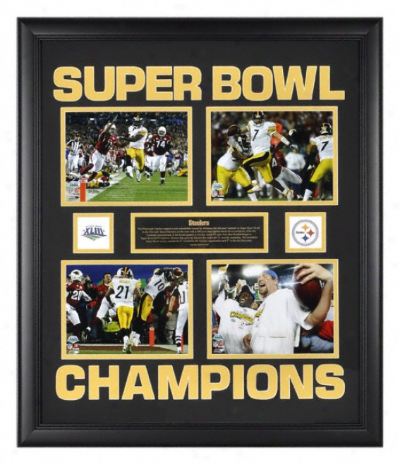 Pittsburgh Steelers Super Bowl Xliii Champions Framed Four 6x8 Collage With Logo And Plate