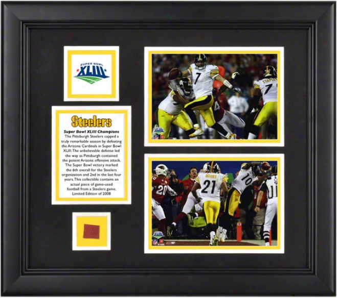 Pittsburgh Steelers Super Bowl Xliii Champions Framed Two 5x7 Photographs With Game Used Football Piece, Logo And Plate