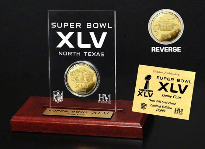 Pittsburgh Steelers Vs. Green Bay Packers Super Bowl Xlv 24kt Gold Coin In Etched Acrylic