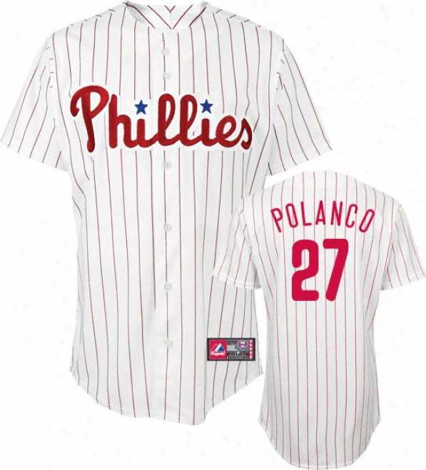 Placido Polanco Jersey: Person of mature age Majestic Home Pinstripe Replica #27 Philadelphia Phillies Jersey