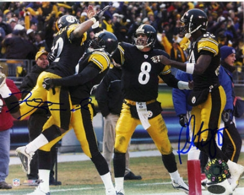 Plaxico Burress And Antwaan Randle El Pittsburgh Steelers 8x10 Dual Autorgaphed Photograph