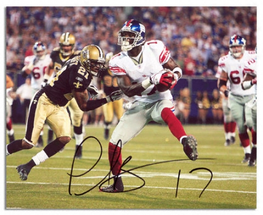 Plaxico Burress Autographed Photograph  Details: New York Giants, Horizontal Print, 8x10