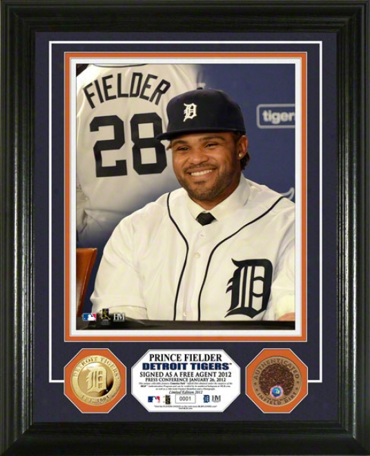 Prince Fielder Detriot Tigers Ptess Confer3nce Game Used Dirt Photo Mint