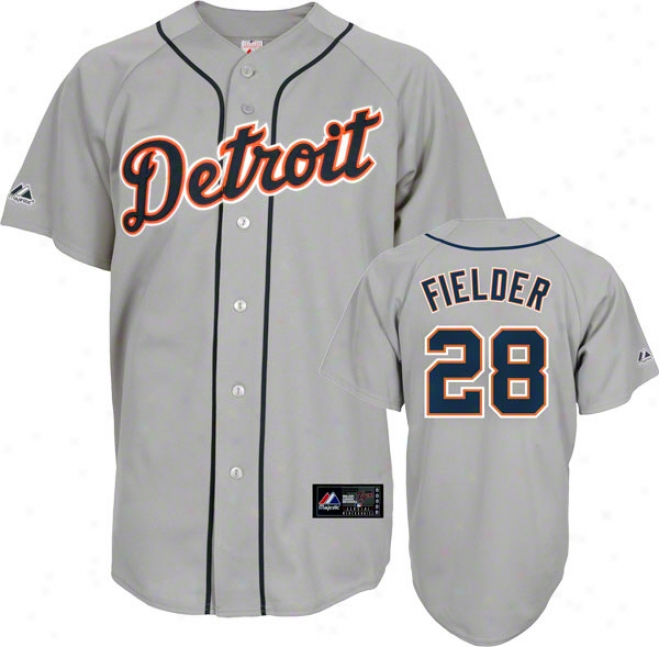 Prince Fielder Jersey: Adult Majestic Road Grey Replica #28 Detroit Tigers Jersey
