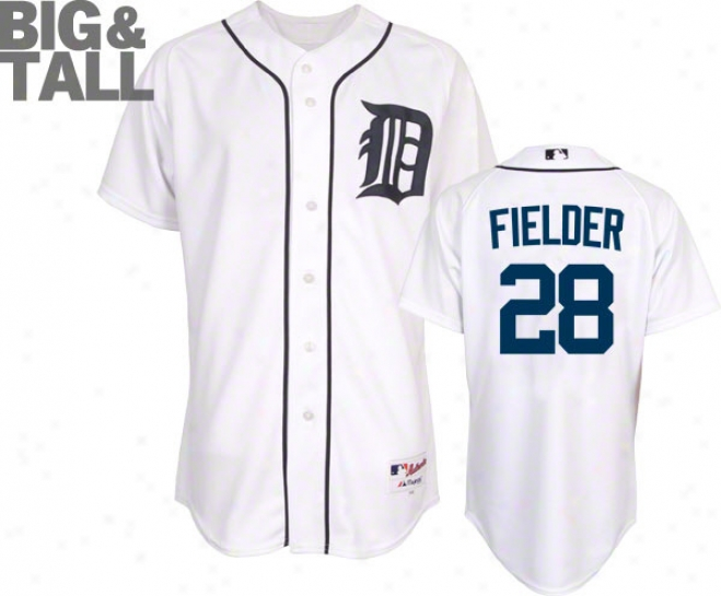 Prince Fielder Jersey: Detroit Tigers #28 Big & Tall Home White Authentic On-field Jersey