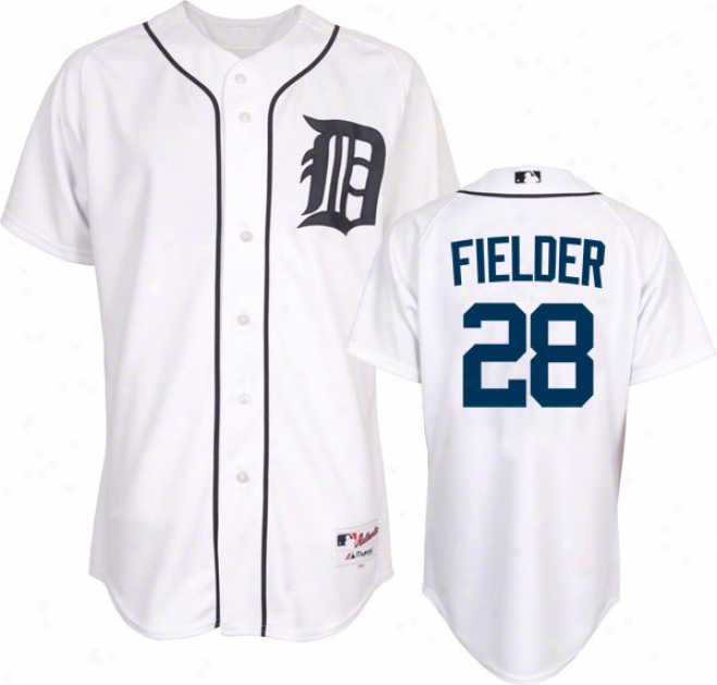 Prince Fielder Jersey: Detroit Tigers #28 Home Whie Authentic Jersey