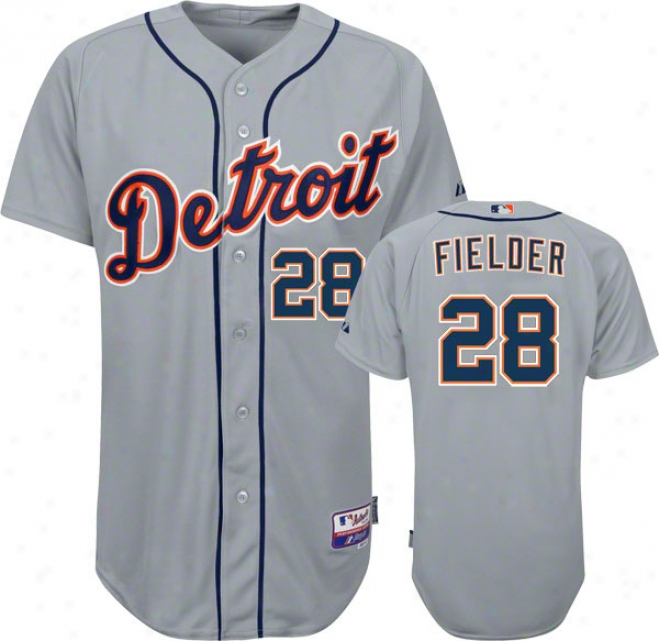 Sovereign Fielder Jersey: Detroit Tigerrs #28 Road Grey Authentic Cool Baseã¢â�žâ¢ On-field Jersey