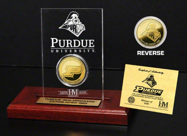 Purdue Boilermakers 24kt Gold Coin In Etchrd Acrylic