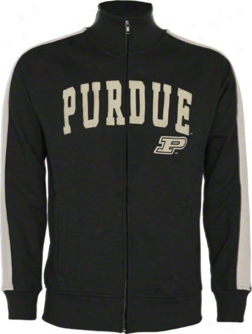 Purdue Boilermakers Black Pinnacle Slub French Terry Track Jacket