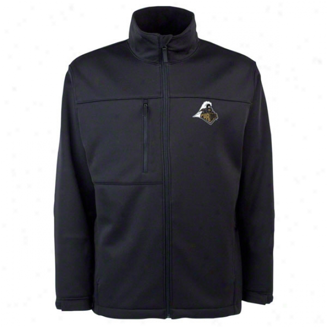 Purdue Boilermakers Black Traverse Bonded Plastic Shell Jacket