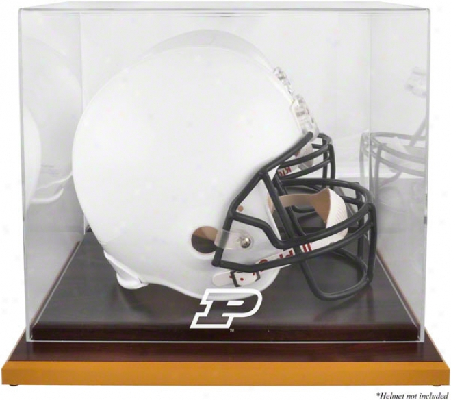 Purdue Boilermakers Logo Helm Parade Case  Details: Wood Basee, Mirrored Back