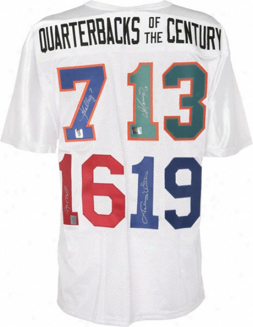 Quarterbacms Of The Century Autographed Jersey  Details: White, Wilson,signed By Joe Montana, Dan Marino, John Elway And Johnny Unitas