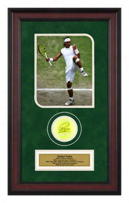 Rafael Nadal 2008 Wimbledon Championship Framed Autographed Tennis Ball With Photo