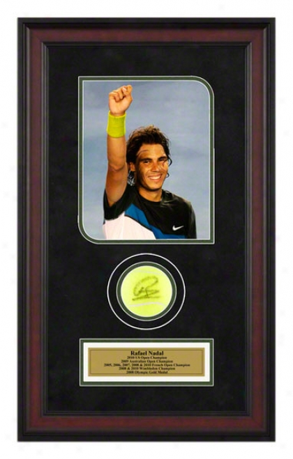 Rafael Nadal 2009 6th Grand Slam Title Framed Autographed Tennis BallW ith Photo
