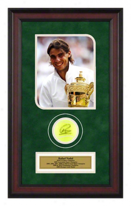 Rafael Nadal 2010 8th Grand Slam Ti5le Framed Autographed Tennis Ball With Photo