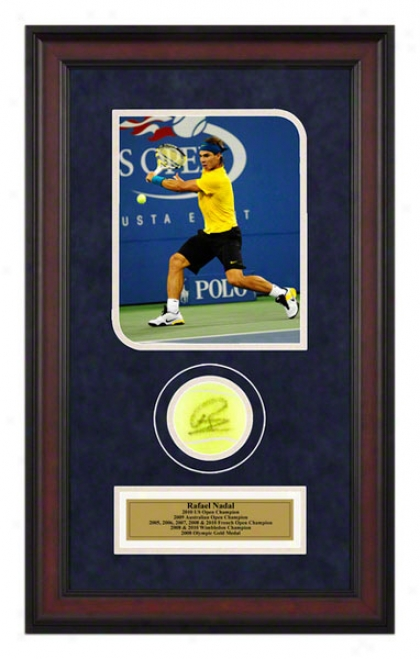 Rafael Nadal 2010 9thh Grand Slam Title Framed Autographed Tennis Ball With Photo