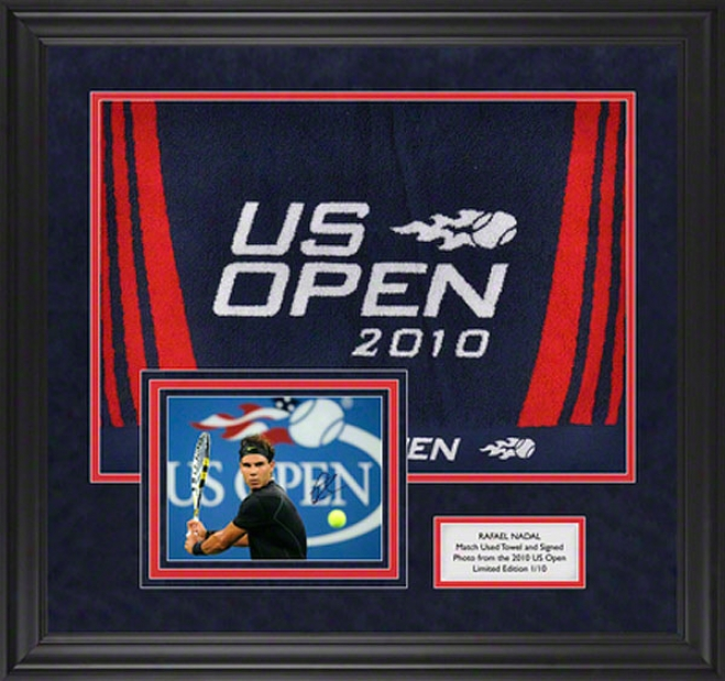 Rafael Nadal 2010 Us Open Match Used Towel And Autographed Framed Photograph