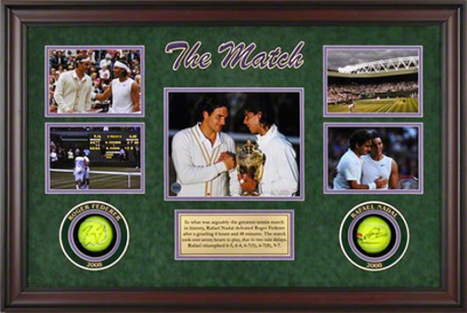 Rafael Nadal & Roger Federer 2008 Wimbledon Championships Match Framed Autographed Tennnis Balls With Photos