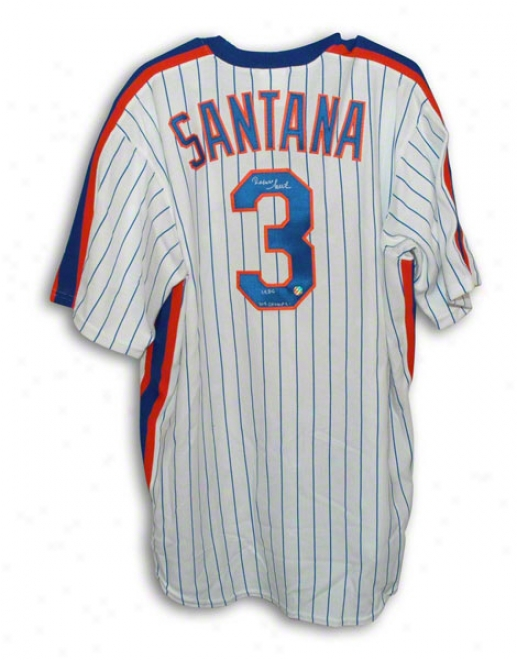 Rafael Santana Autographed New York Mets White Pinstripe Majestic Jersey Inscribed &quot86 Ws Champs&quot