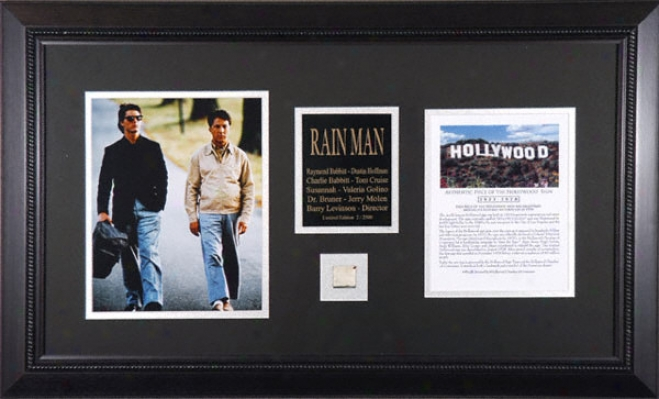 Rain Man - Tom Cruise And Dustin Hoffman - Framed 8x10 Photograph With Piece Of Hollywood Sign