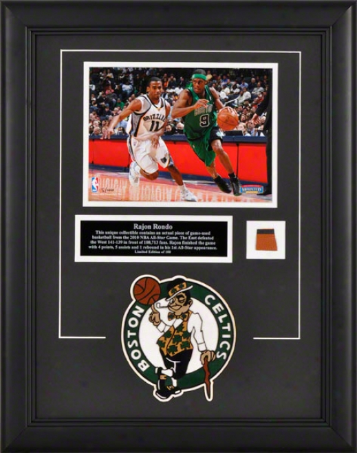 Rajon Rondo Boston Celtics Framed 8x10 Photograph Attending Game Used 2010 Altogether Star Game Bsketball Enlarge And Descriptive Plate