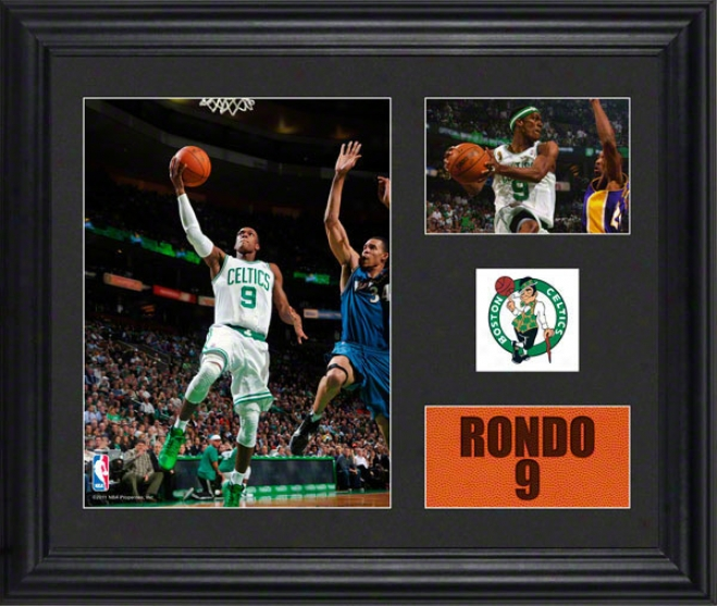 Rajon Rondo Framed 2- Photograph Collage  Details: Boston Celtics, Team Logo