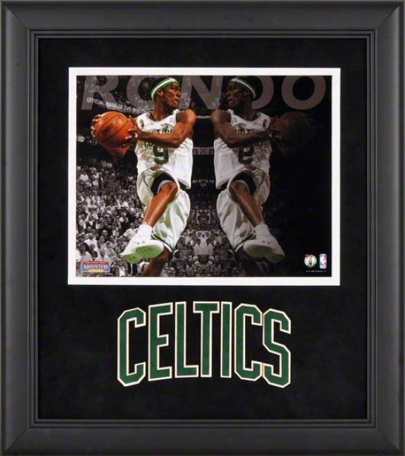 Rajon Rondo Framed Photograph  Details: 8x10, Reflections, Bosston Celtics Team Logo