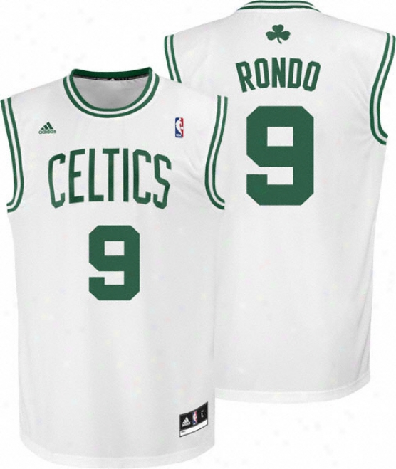 Rajon Rondo Jersey: Adidas Revolution 30 White Replica #9 Boston Celtics Jersey