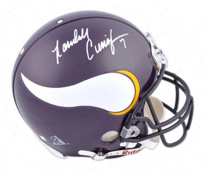 Rzndall Cunningham Autographed Pro-line Helmet  Detajls: Minnesota Vikings, Genuine Riddell Helmet