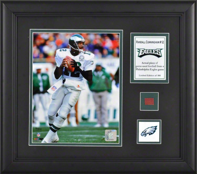 Randall Cunningham Framed 8x10 Photograph  Particulars: Philadelphia Eagles, With aGme Used Football iPece And Descriptive Plate