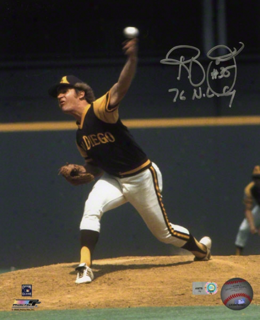 Randy Jones Autographed Photograph  Details: 8x10, San Diego Padres, 76 Nl Cy Inscription
